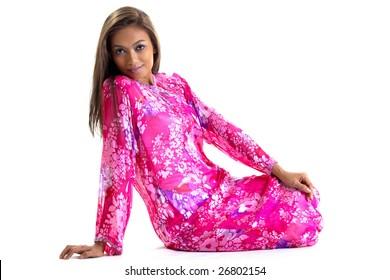 young woman in traditional malay dress baju kurung