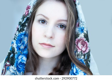 Young woman in traditional Russian costume