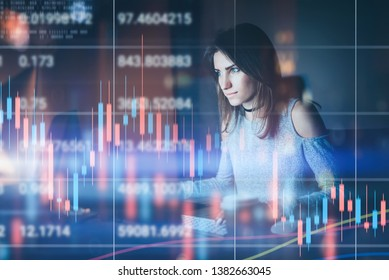 Young woman traider working at night modern office.Technical price graph and indicator, red and green candlestick chart and stock trading computer screen background. Double exposure