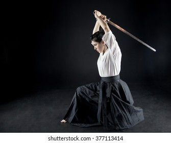 young woman trained with a sword