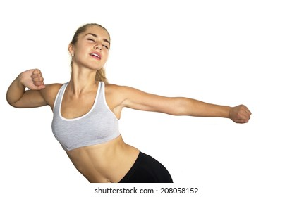 Young woman training on white background