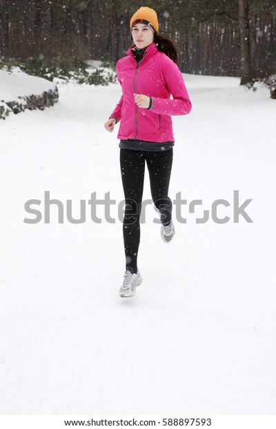 The young woman training in Winter Park