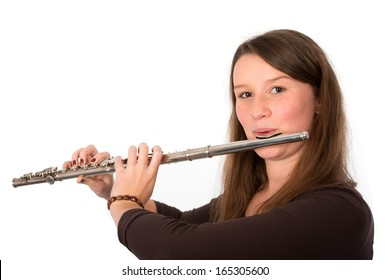 young woman with transverse flute