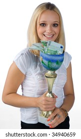young woman with trophy full of money