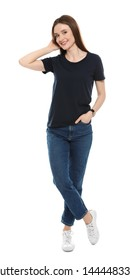 Young woman in t-shirt on white background. Mock up for design