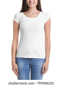 Young woman in t-shirt on white background. Mockup for design