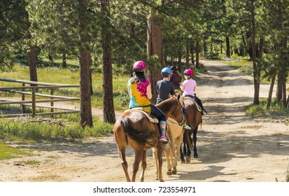 Young woman with two children taking a horseback ride in the woods; Colorado, USA