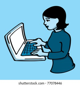 A young woman typing on a laptop.