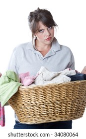 Young woman upset about having to do laundry; isolated a a white background.