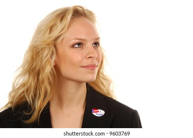 Young woman US voter with ID sticker.