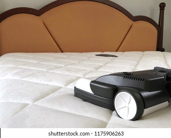 Young woman use Vacuum Cleaner to cleaning mattress in the bedroom. Protect your life. Allergic rhinitis, Hay fever. Dust Mites. Health care. Free space for text. Can be use for advertising, business.