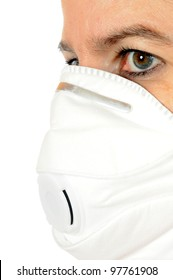 Young woman uses a breathing mask