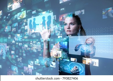Young woman using futuristic interface. IoT(Internet of Things). ICT(Information Communication Network). Social media.