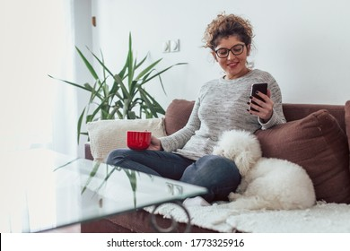 Young woman using mobile phone. Young woman laying on sofa with her dog and using mobile phone.