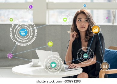 young woman using tablet control the business in daily life , internet of things(IOTs) concept
