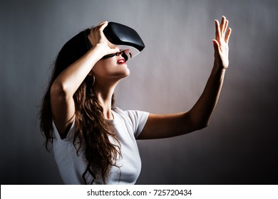 Young woman using a virtual reality headset
