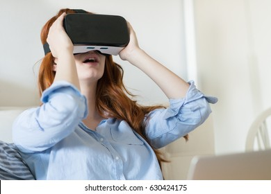 Young woman  using VR headsets