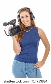 young woman with a video camera, isolated on white background