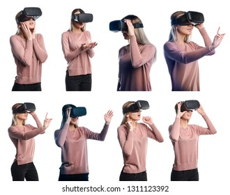 Young woman in virtual reality (VR) glasses. Isolated on white background