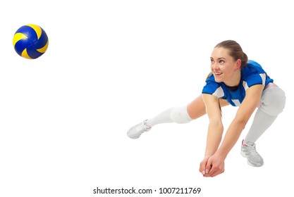 Young woman voleyball player isolated (ver with ball)