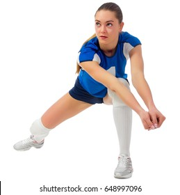Young woman voleyball player isolated (without ball ver)