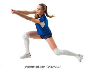 Young woman voleyball player isolated