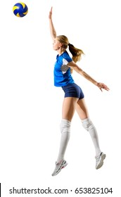 Young woman voleyball player isolated (with ball ver)