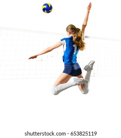 Young woman voleyball player isolated (with net and ball ver)