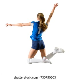 Young woman voleyball player isolated (ver without ball and net)