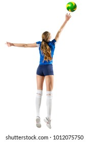 Young woman volleyball player isolated (version with ball)