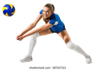 Young woman volleyball player isolated