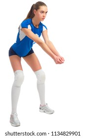 Young woman volleyball player (version without ball)