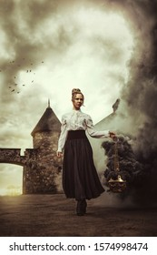 Young woman walking in front of a castle, holding a smoking censer that produce a huge swirl of smoke while the sun goes up
