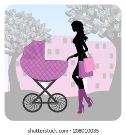 Young woman walking in park with stroller. Raster version