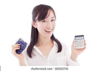young woman with wallet and calculator isolated on white background