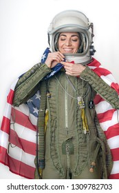 young woman warplane pilot with helmet and flag of U.S.A costumed in carnivals