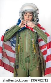 young woman warplane pilot with helmet and flag of U.S.A