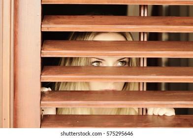 Young woman watching