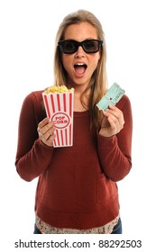 Young woman watching movie with 3D glasses holding popcorn and tickets isolated over white background