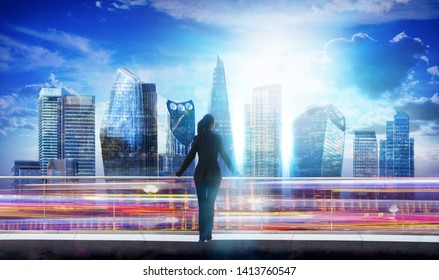 Young woman watching the sunset in the City of London, business concept illustration with London's skyscrapers and traffic lights