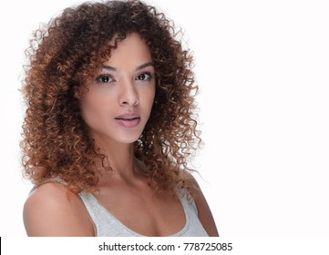 young woman with wavy hair and with day make-up