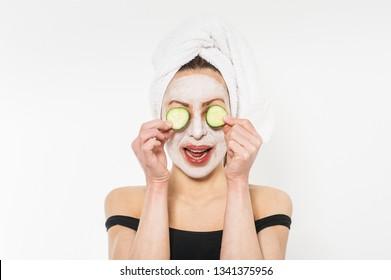 Young woman wearing beauty mask