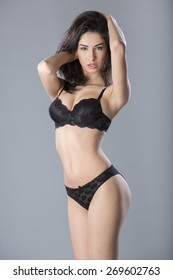 Young woman wearing black lingerie