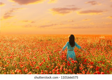 Young woman wearing in blue dress walking in red poppies meadow at sunset.