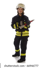 Young woman wearing a fire brigade uniforms and helmet and holding a fire spike in the hand against a white background