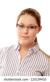 A young woman wearing glasses , isolated on white background