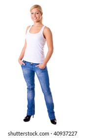 young woman wearing jeans standing isolated on white