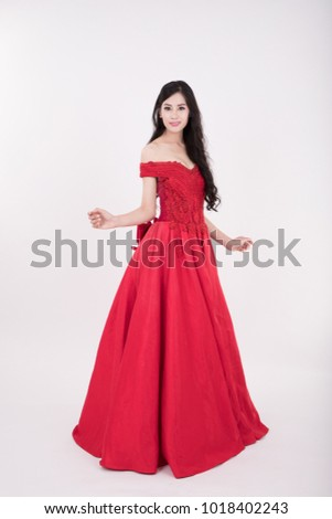 Young Woman Wearing Long Red Dress Stock Photo Edit Now 1018402243