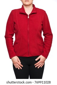 Young woman wearing red polyester jacket sweater separated on white background
