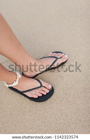 Young Woman Wearing Sandals Seashell Ankle Stock Photo Edit Now